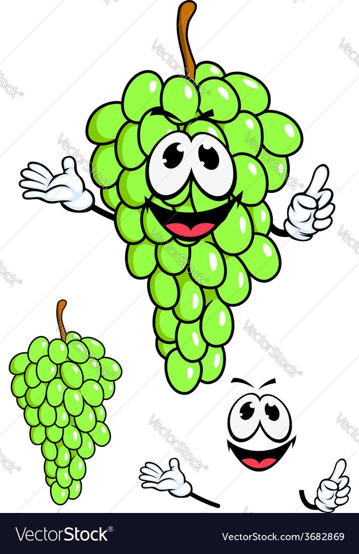 Juicy green grape fruit in cartoon style vector   Price: 1 Credit (USD $1)