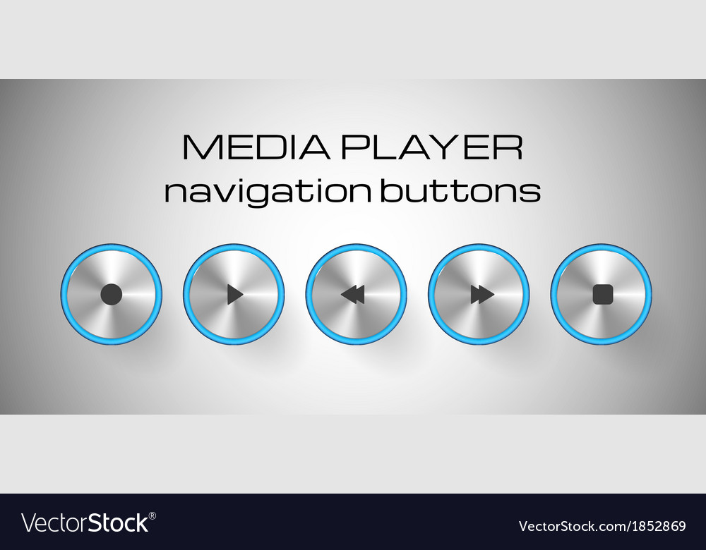 Set of media control buttons vector | Price: 1 Credit (USD $1)