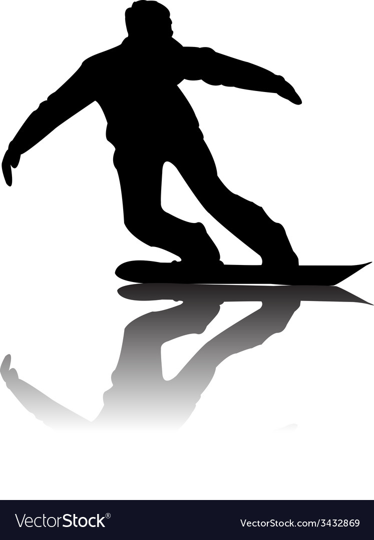 Silhouette of snowboarder vector | Price: 1 Credit (USD $1)