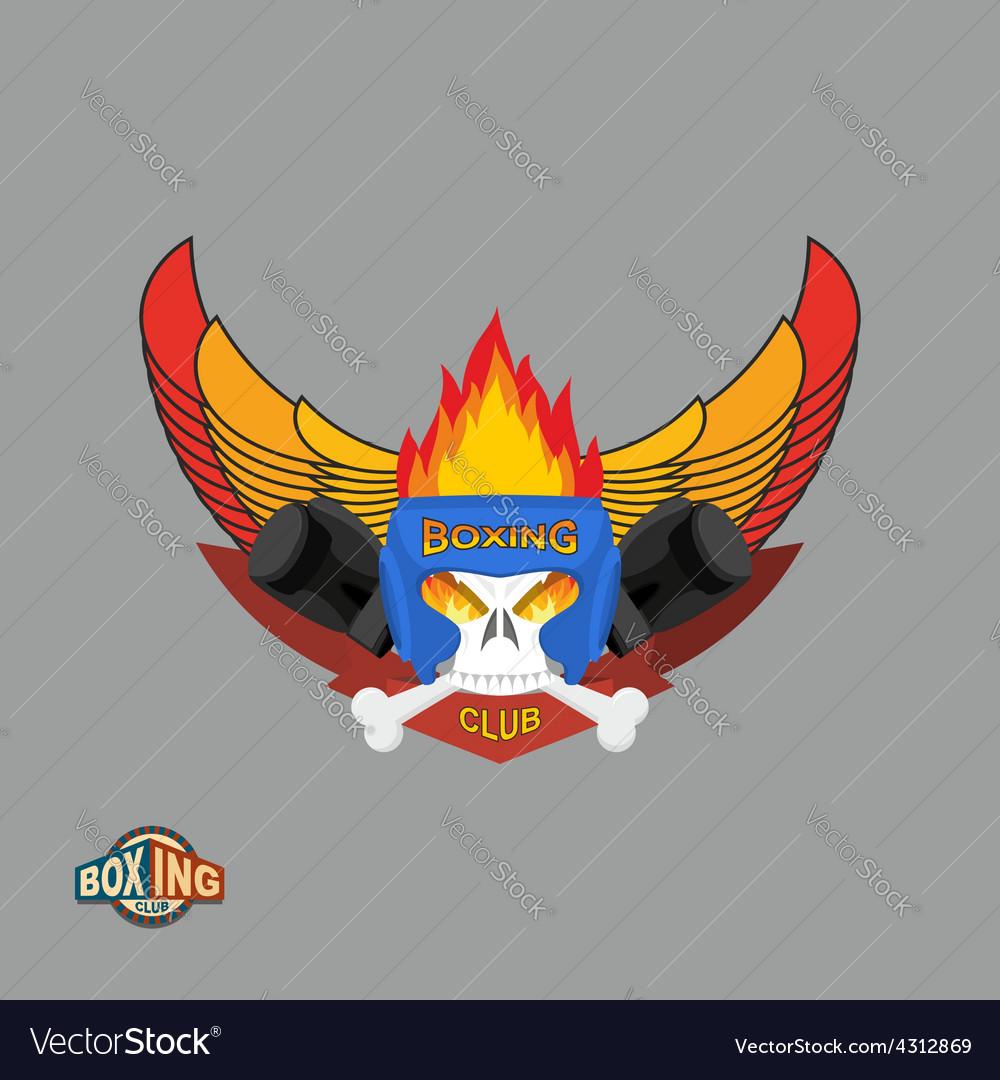 Sports shield emblem boxing logo skull logotype vector | Price: 1 Credit (USD $1)