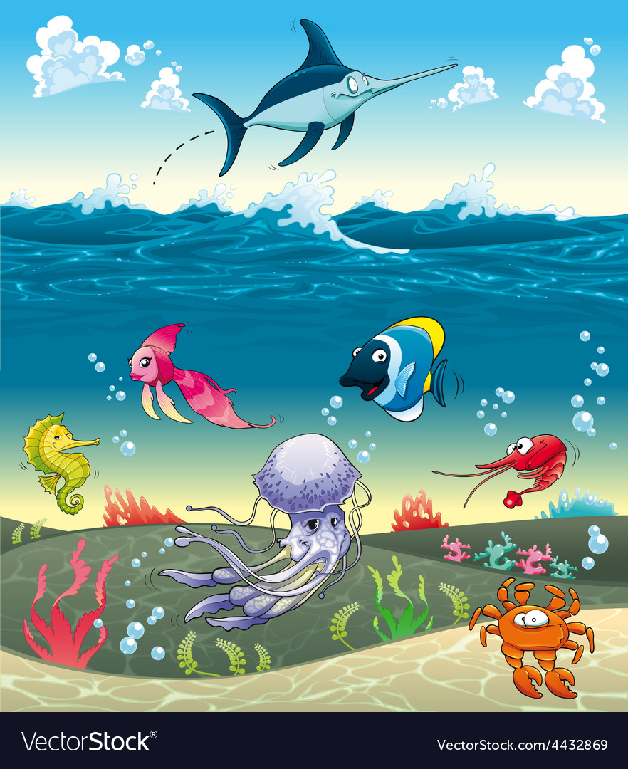 Under the sea with fish and other animals vector | Price: 5 Credit (USD $5)