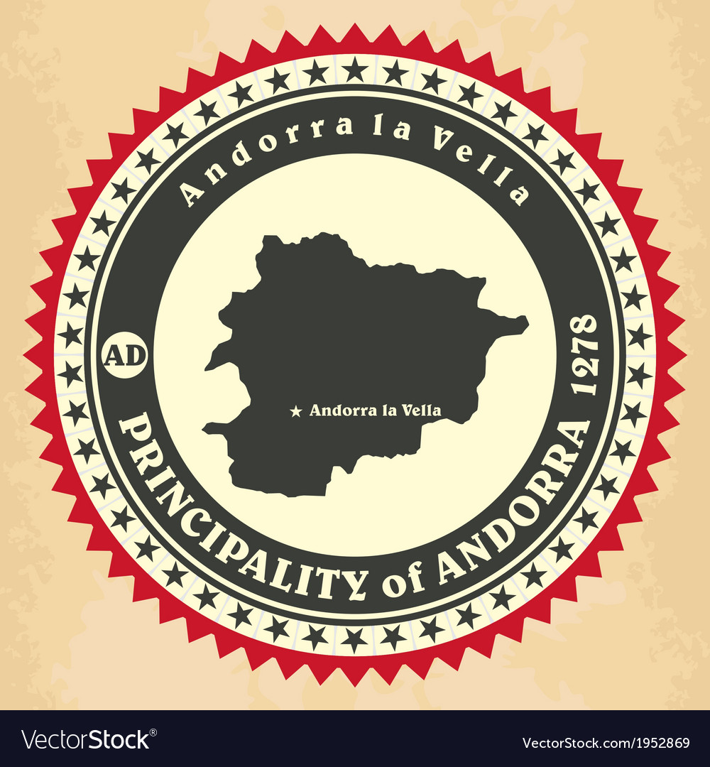 Vintage label-sticker cards of principality of and vector | Price: 1 Credit (USD $1)