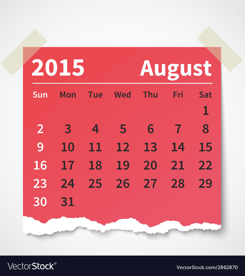 Calendar august 2015 colorful torn paper vector | Price: 1 Credit (USD $1)