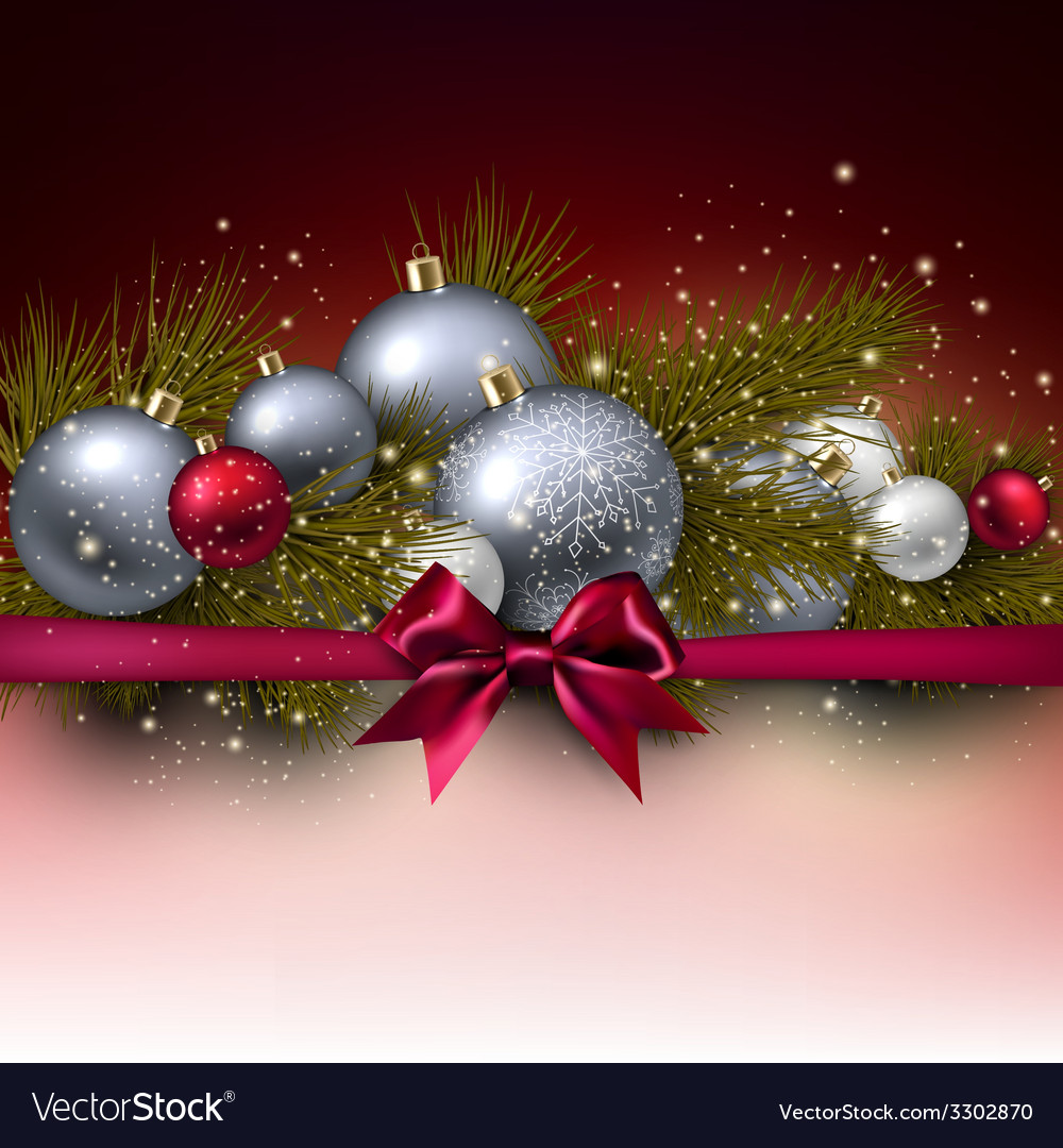 Christmas background with balls and fir twig vector | Price: 3 Credit (USD $3)