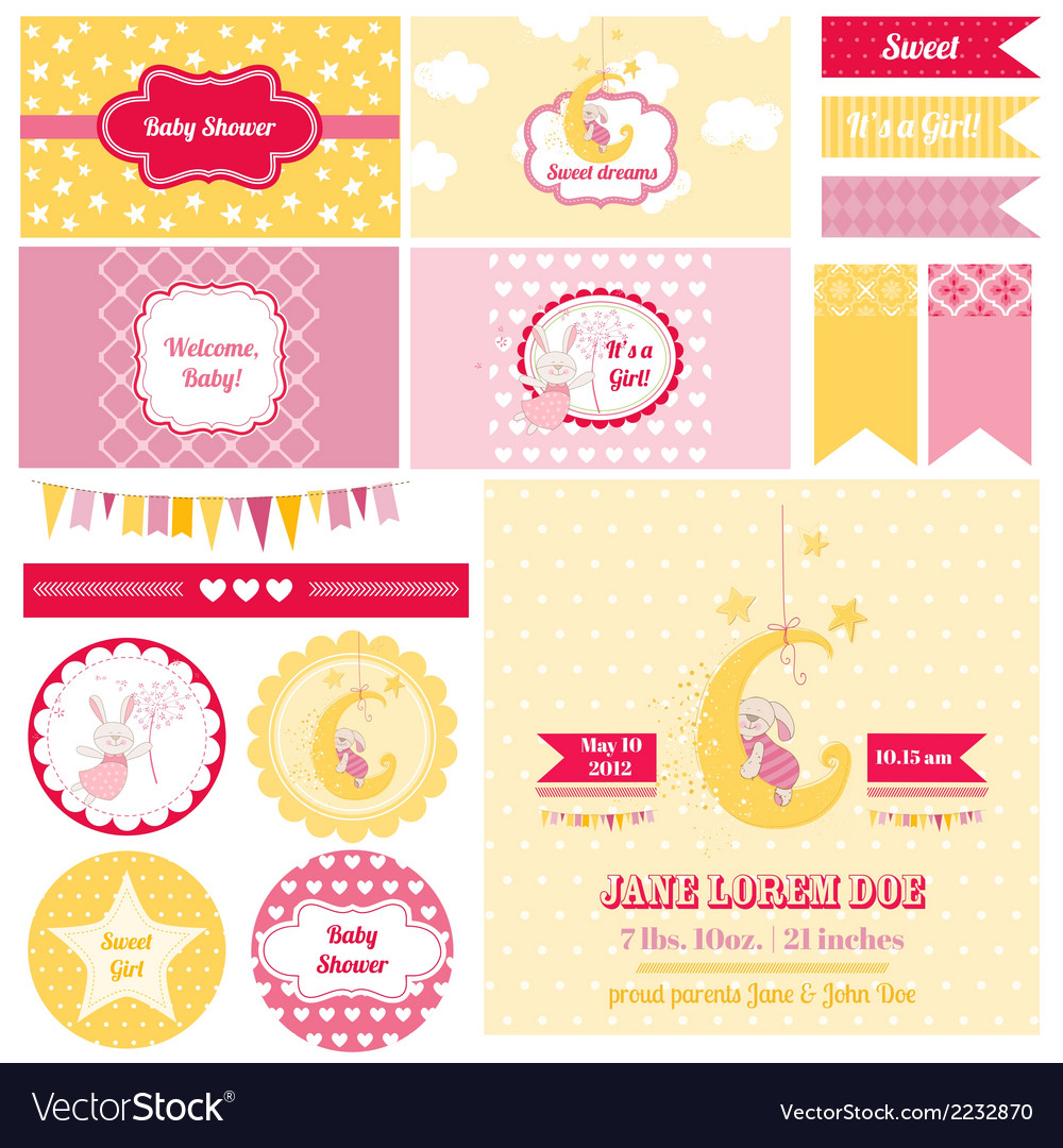 Design elements - baby shower bunny theme vector | Price: 3 Credit (USD $3)