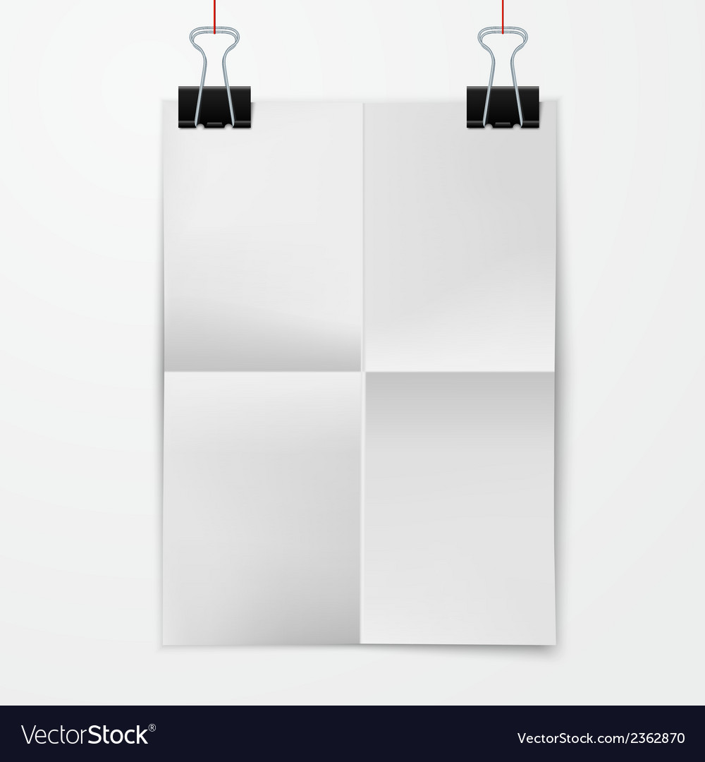 Folded paper sheet with binder clip vector | Price: 1 Credit (USD $1)