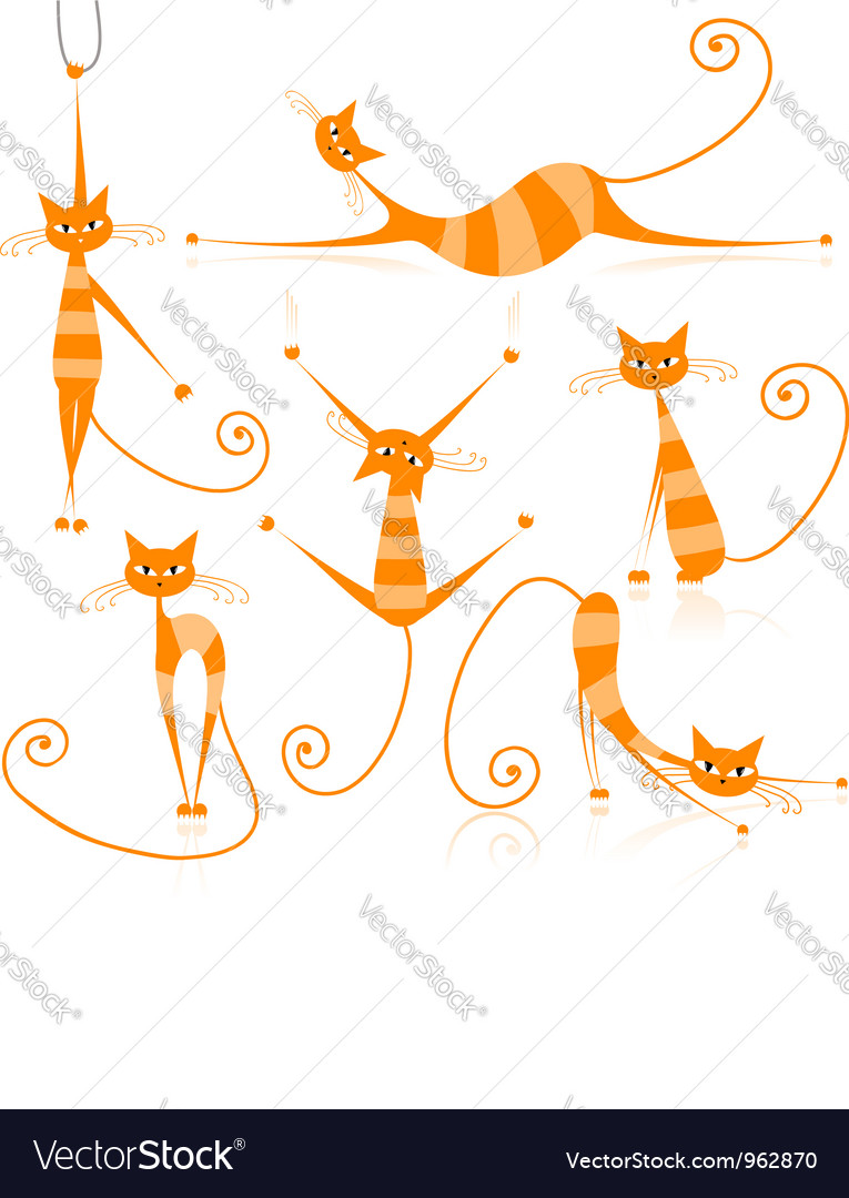 Graceful orange striped cats for your design vector | Price: 1 Credit (USD $1)