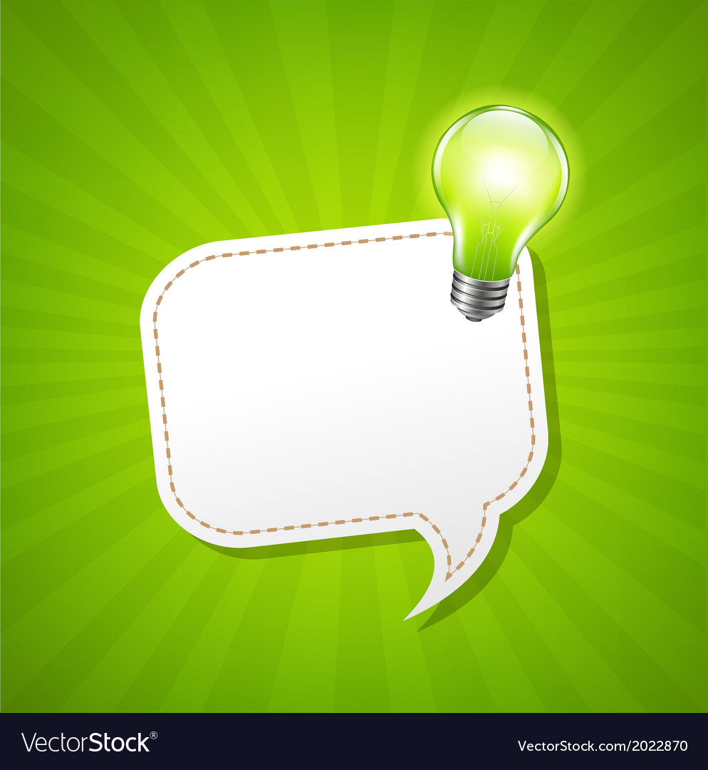 Green sunburst poster with speech bubble and lamp vector | Price: 1 Credit (USD $1)