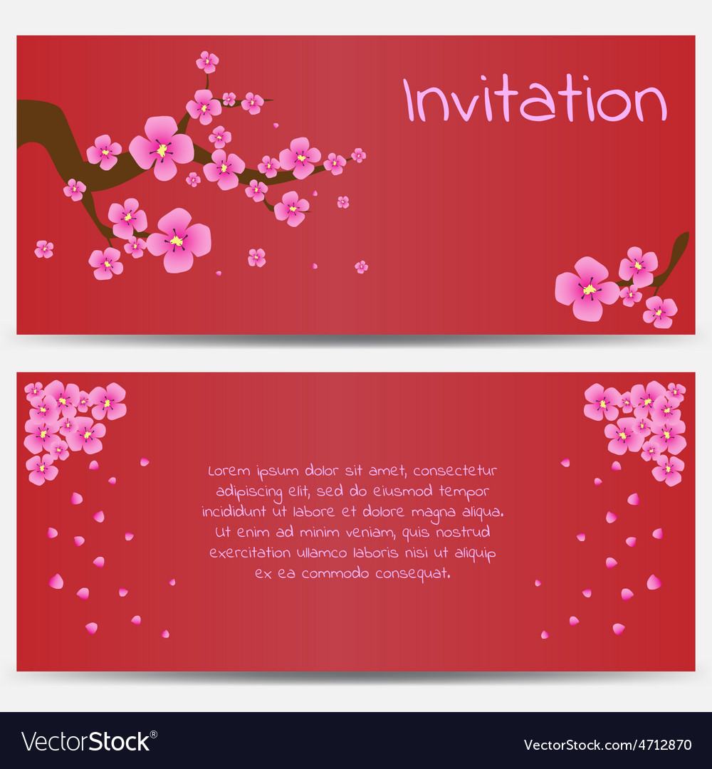 Invitation design template blooming sakura on red vector | Price: 1 Credit (USD $1)
