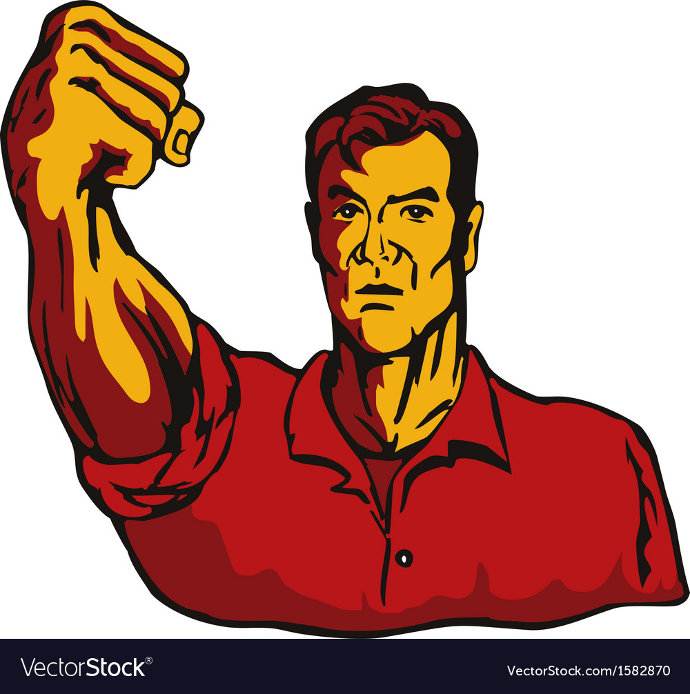 Man with clenched fist vector | Price: 1 Credit (USD $1)