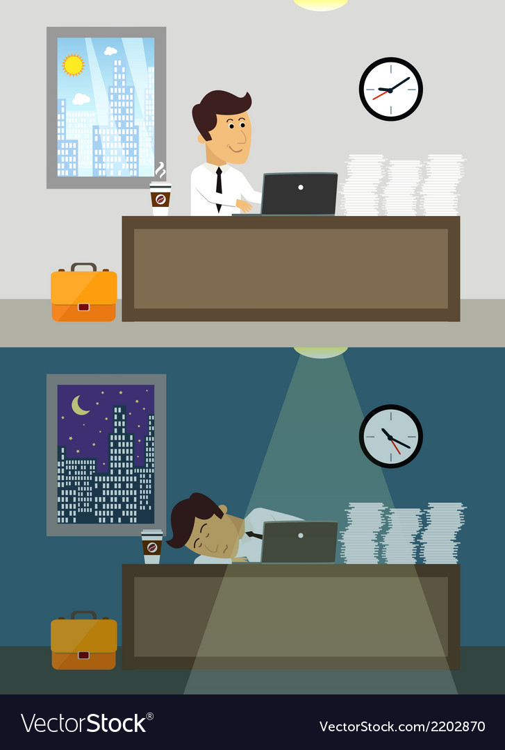 Office worker day and night vector | Price: 1 Credit (USD $1)