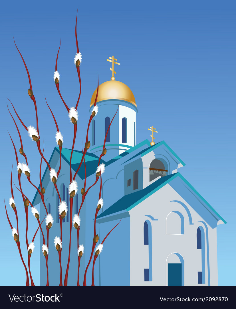 Orthodox church and willow vector | Price: 1 Credit (USD $1)