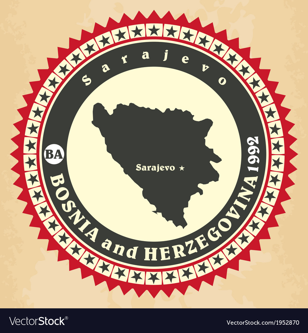 Vintage label-sticker cards of bosnia and herzegov vector | Price: 1 Credit (USD $1)