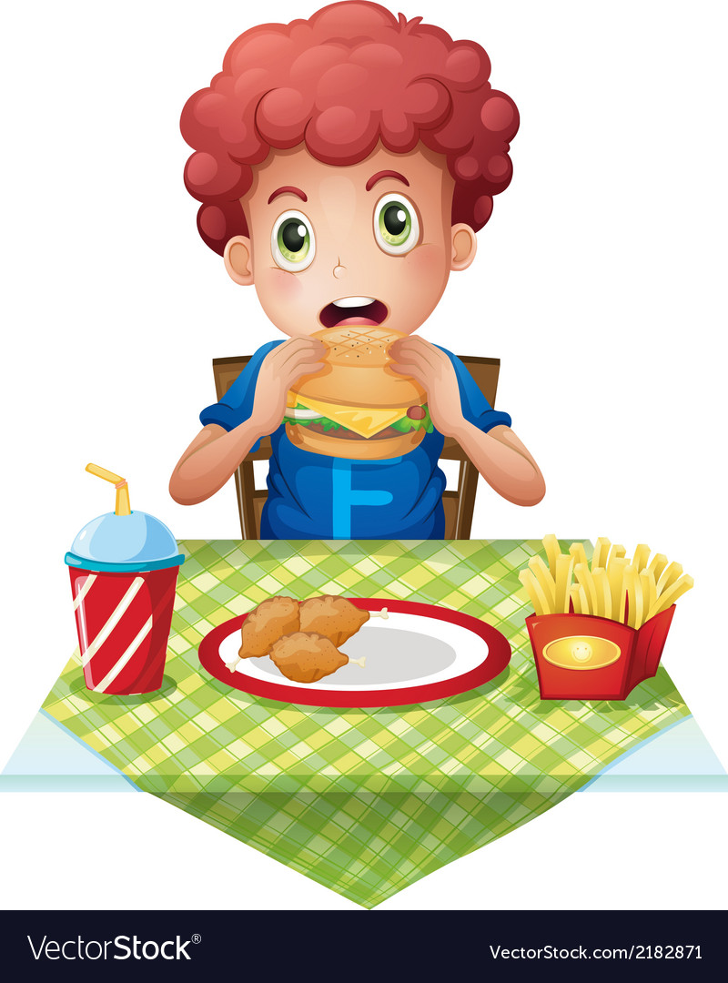 A curly-haired boy eating at a fastfood restaurant vector | Price: 1 Credit (USD $1)