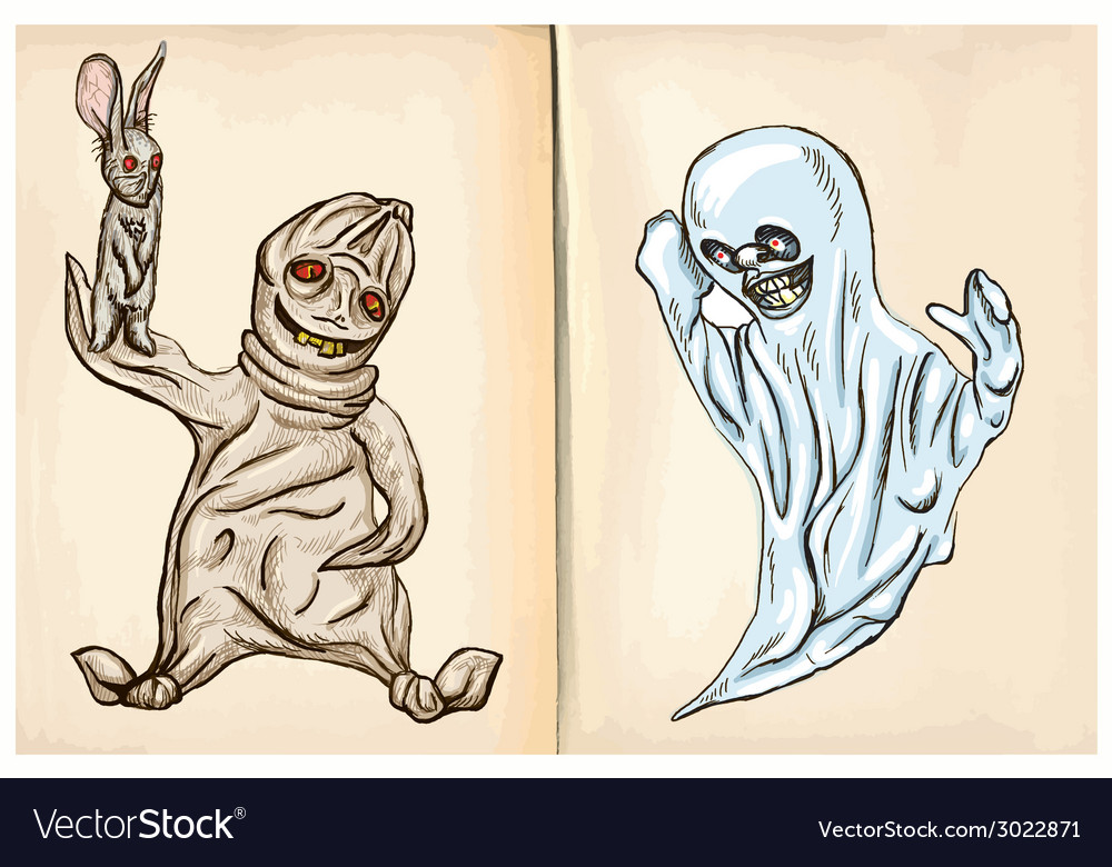 Boogey and ghost - hand drawings vector | Price: 1 Credit (USD $1)