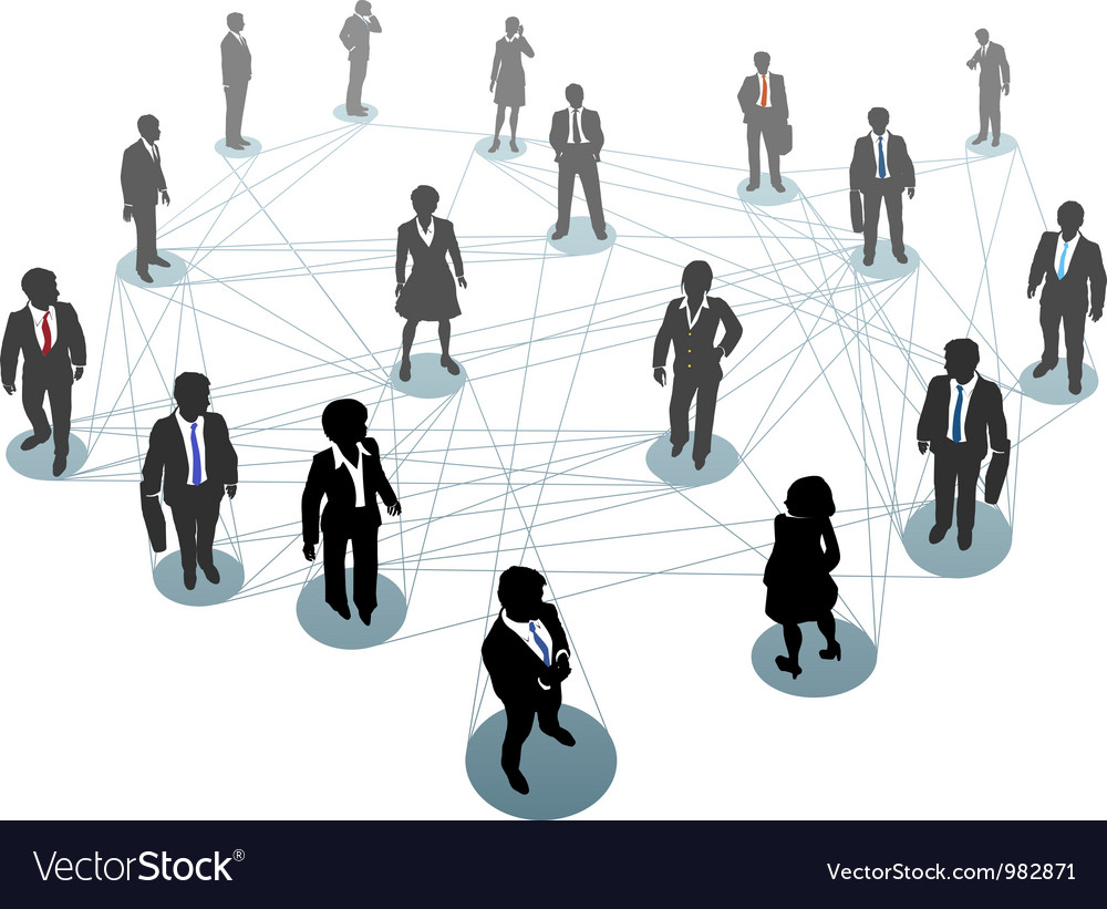 Business people network connection nodes vector | Price: 1 Credit (USD $1)