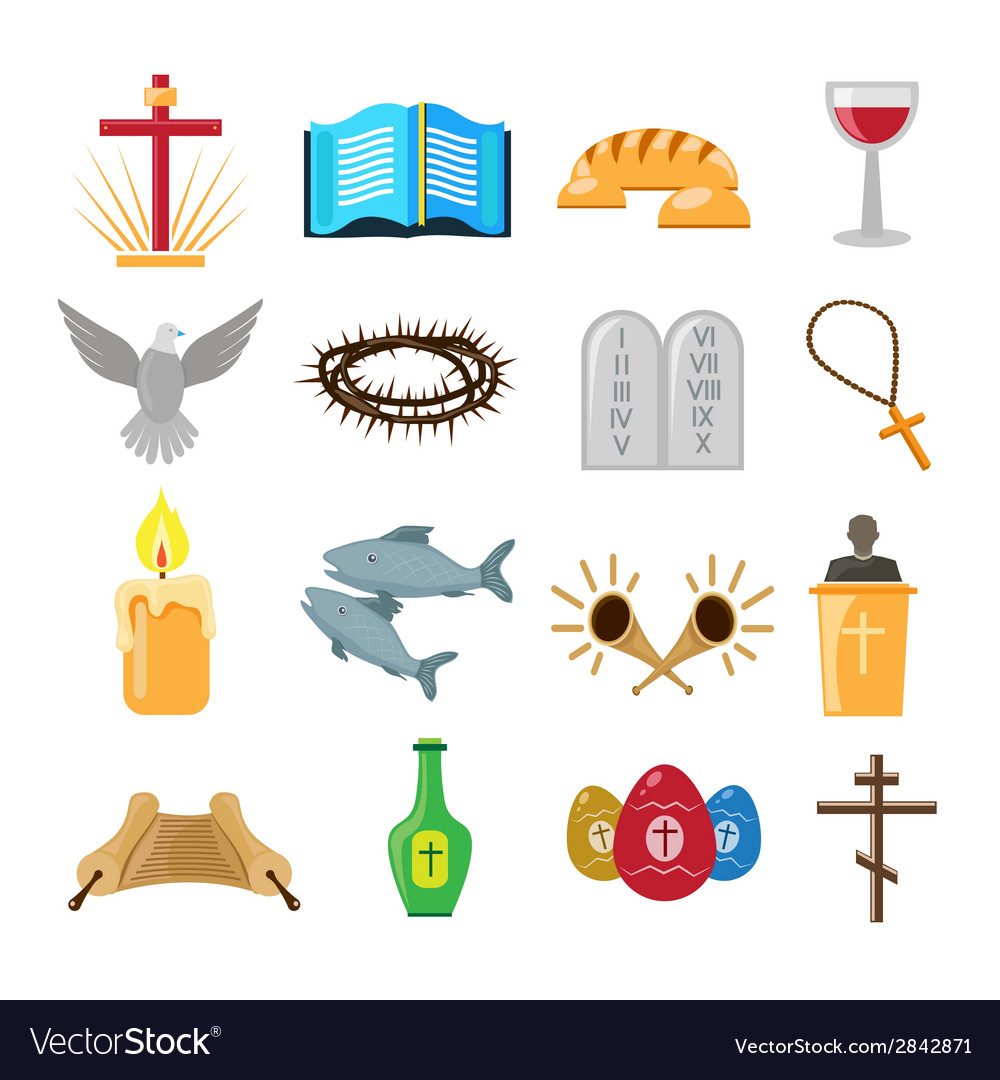 Christianity icons set vector   Price: 1 Credit (USD $1)