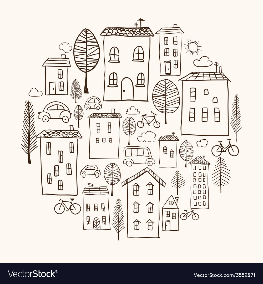 Houses doodles in circle vector | Price: 1 Credit (USD $1)