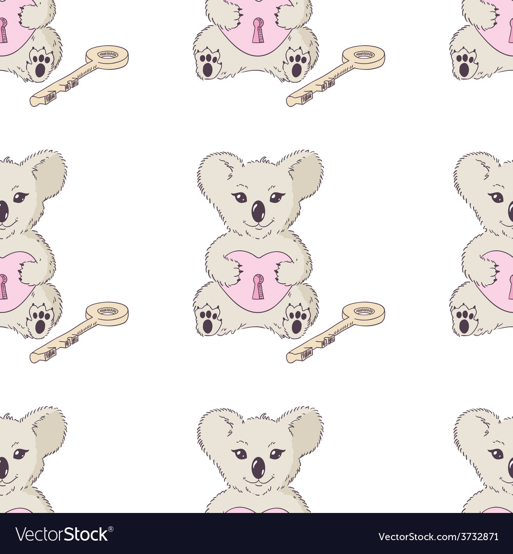 Koala with heart and key seamless pattern vector | Price: 1 Credit (USD $1)