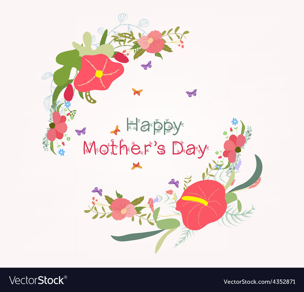 Lettering mothers day with flower element vector