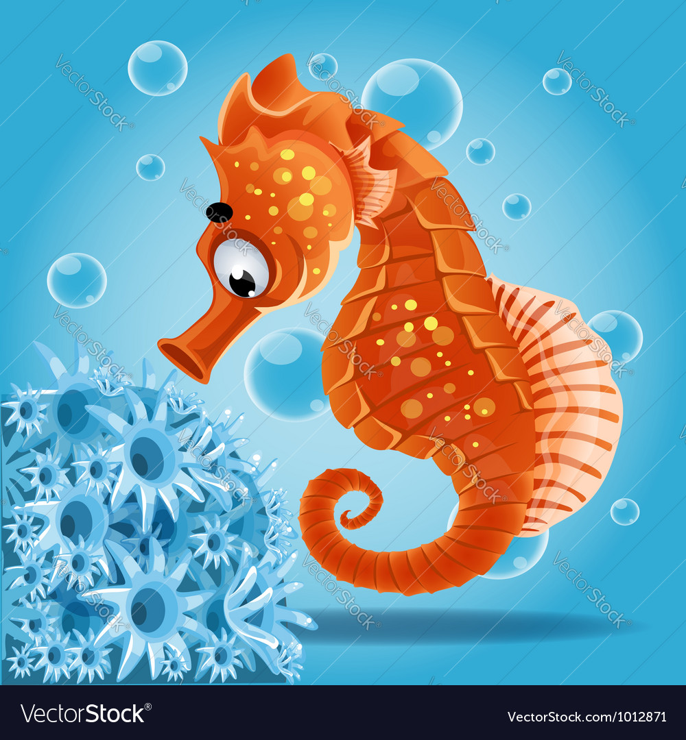 Sea horse on a blue background with actin vector | Price: 3 Credit (USD $3)