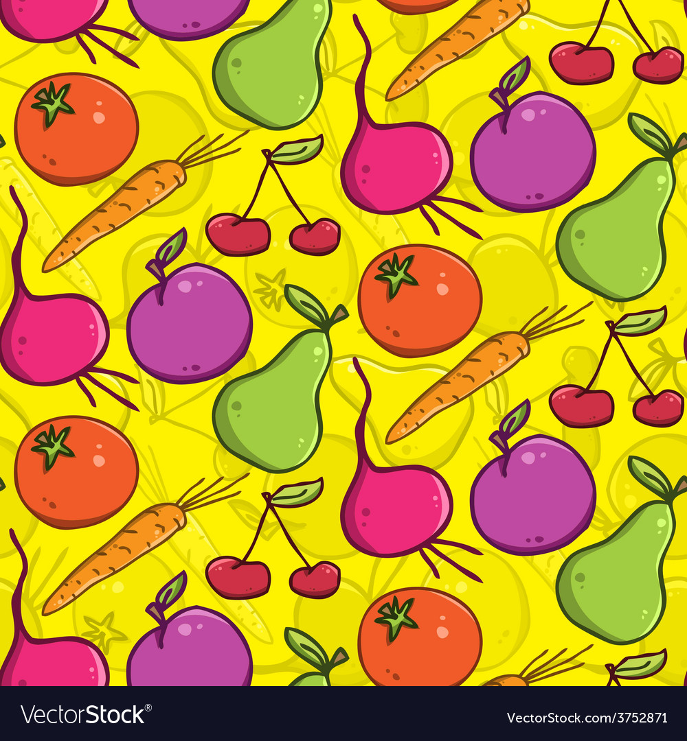 Seamless background colorful fruits and vegetables vector | Price: 1 Credit (USD $1)