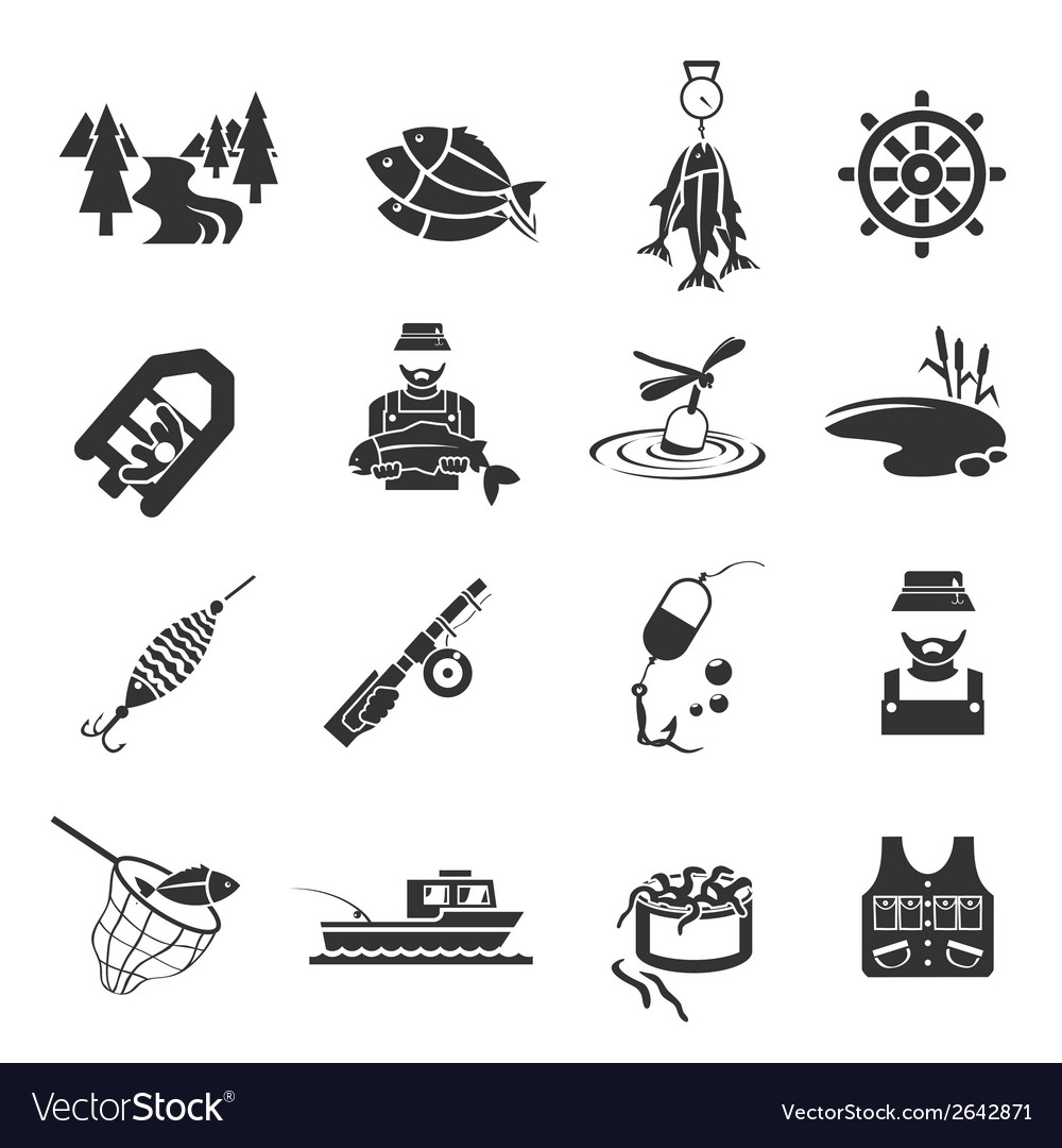 Set of fishing icons vector | Price: 3 Credit (USD $3)
