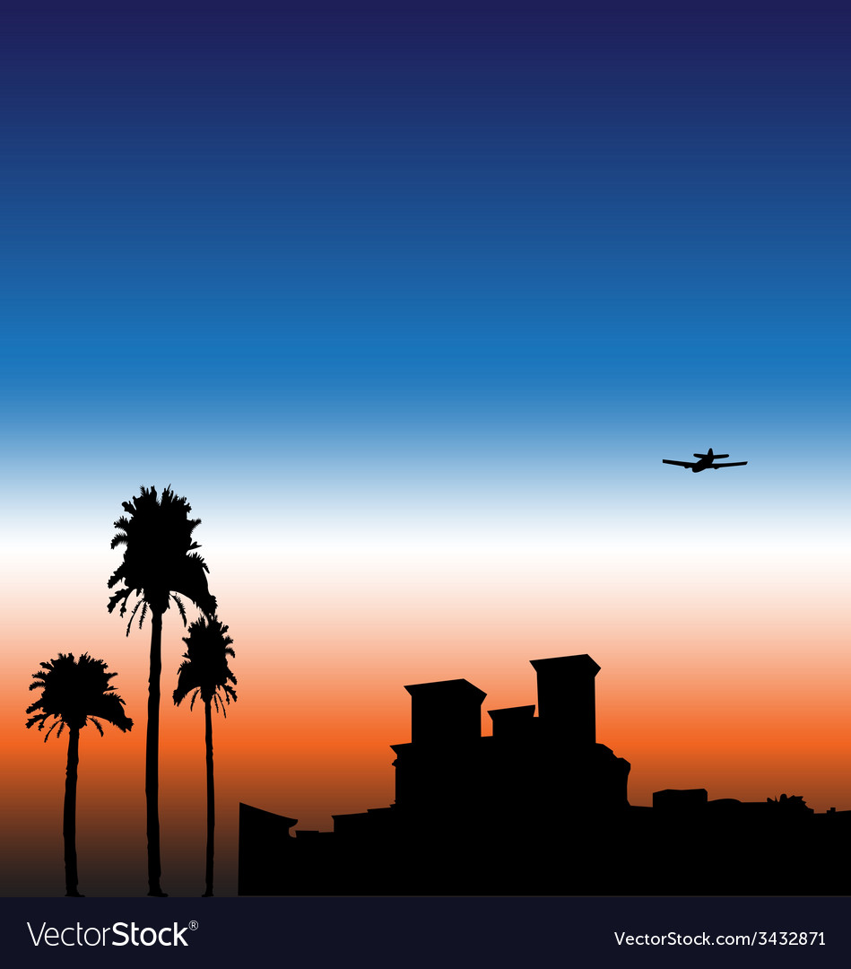 Sunset city vector | Price: 1 Credit (USD $1)