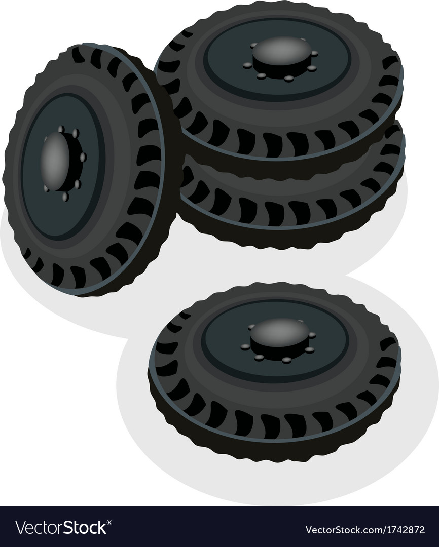 A heap of car wheels isolated on white background vector | Price: 1 Credit (USD $1)