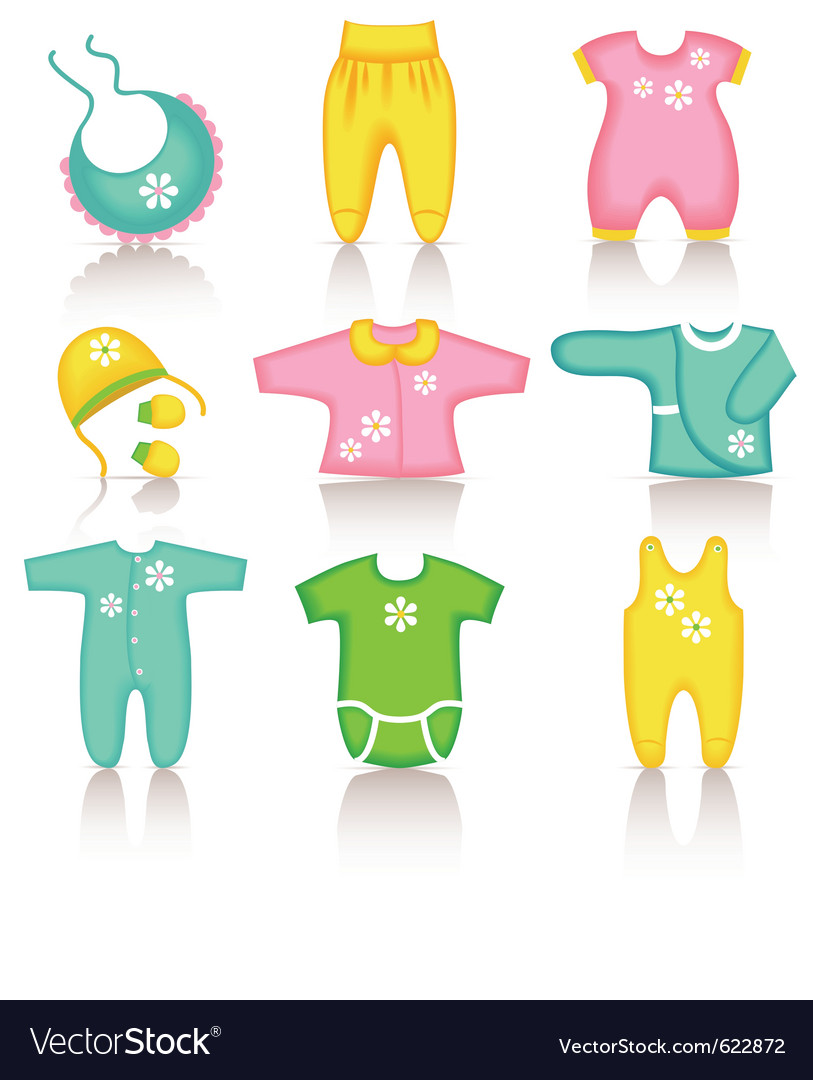 Baby clothing icons vector | Price: 1 Credit (USD $1)