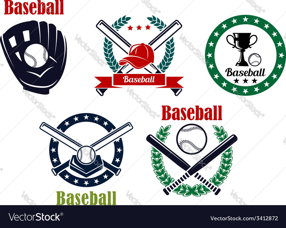 Baseball heraldic emblems set vector | Price: 1 Credit (USD $1)