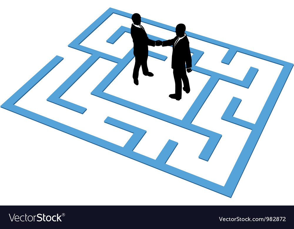 Business people team find connection in maze vector | Price: 1 Credit (USD $1)