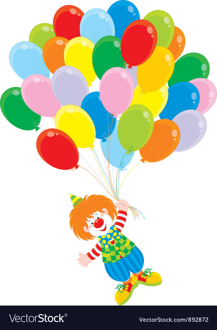 Circus clown flies with balloons vector | Price: 3 Credit (USD $3)