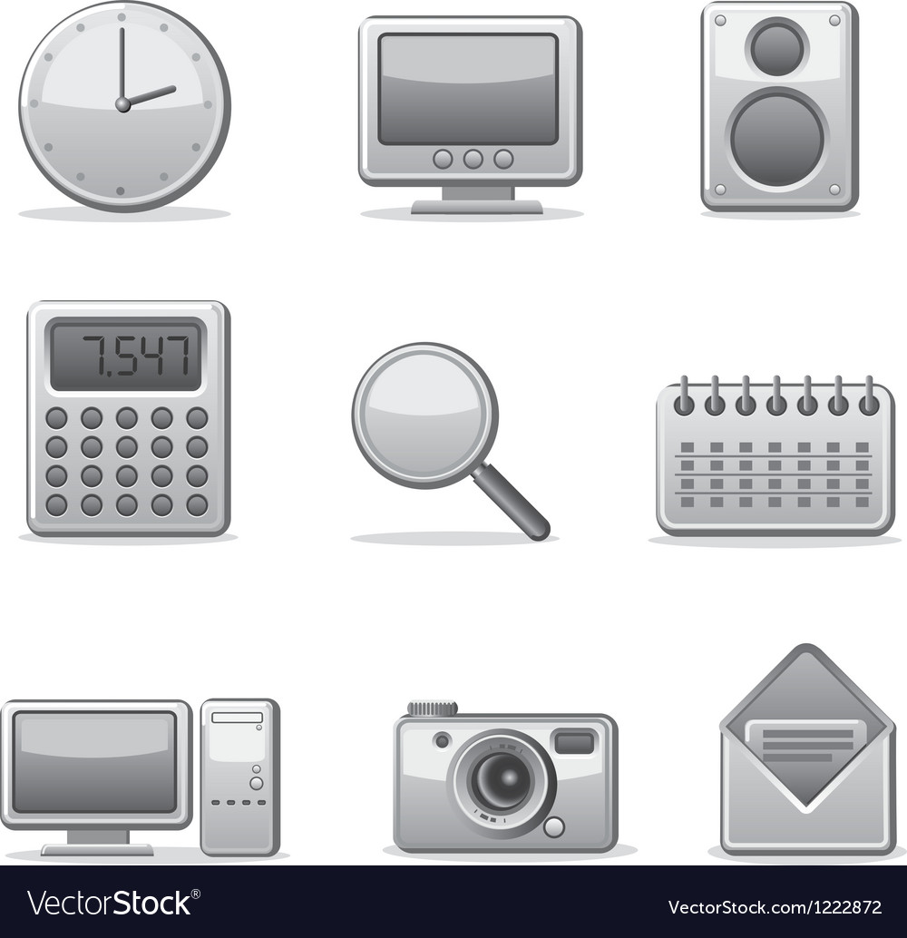 Computer applications icon set vector | Price: 1 Credit (USD $1)