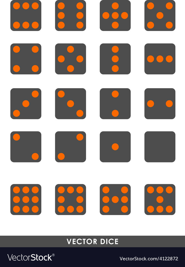 Dark dice with orange dots set vector | Price: 1 Credit (USD $1)