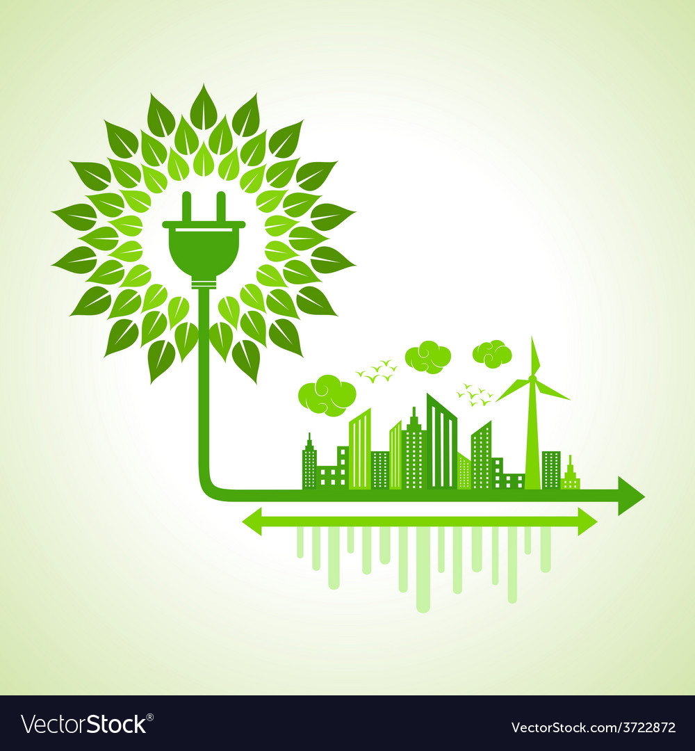 Ecology concept - eco cityscape vector | Price: 1 Credit (USD $1)