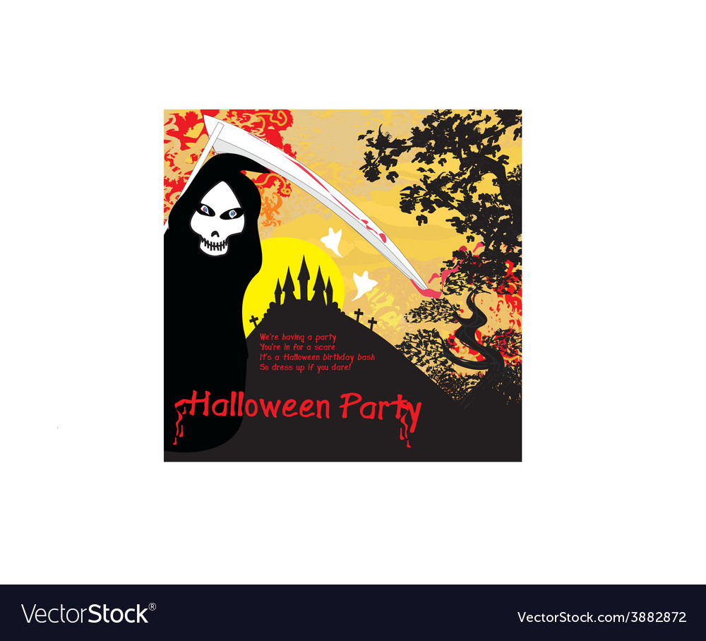 Grim reaper and the haunted castle vector | Price: 1 Credit (USD $1)