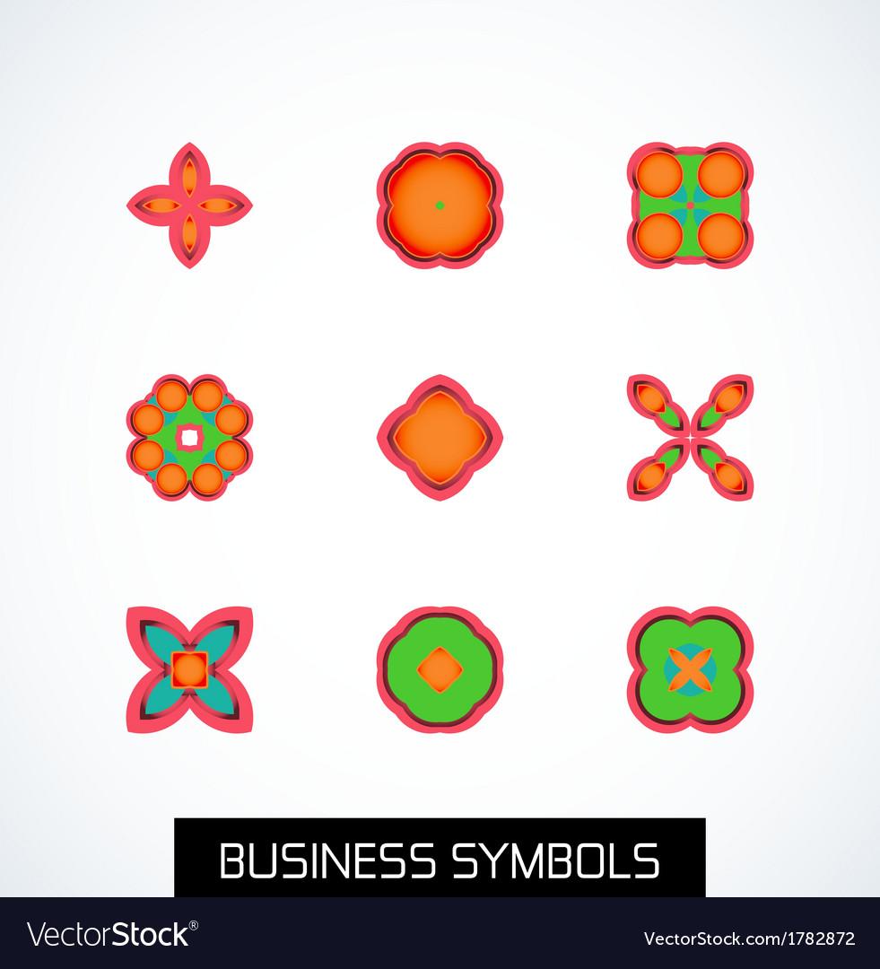 Minimal flat geometric business symbols icon set vector | Price: 1 Credit (USD $1)