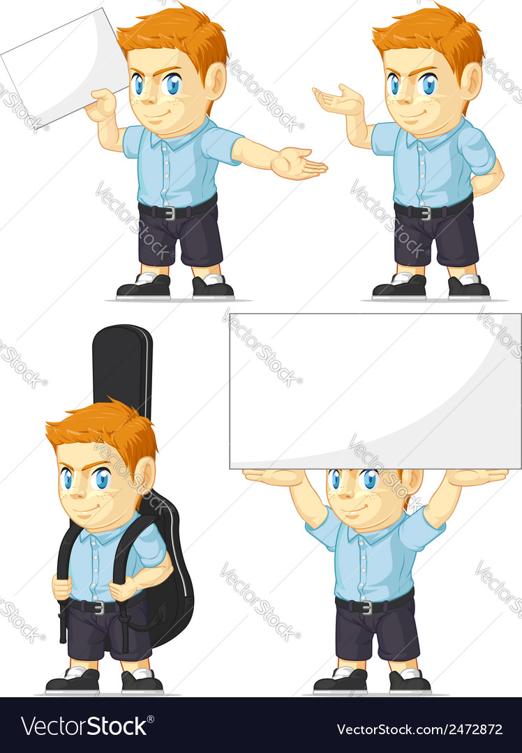 Red head boy customizable mascot 5 vector | Price: 1 Credit (USD $1)