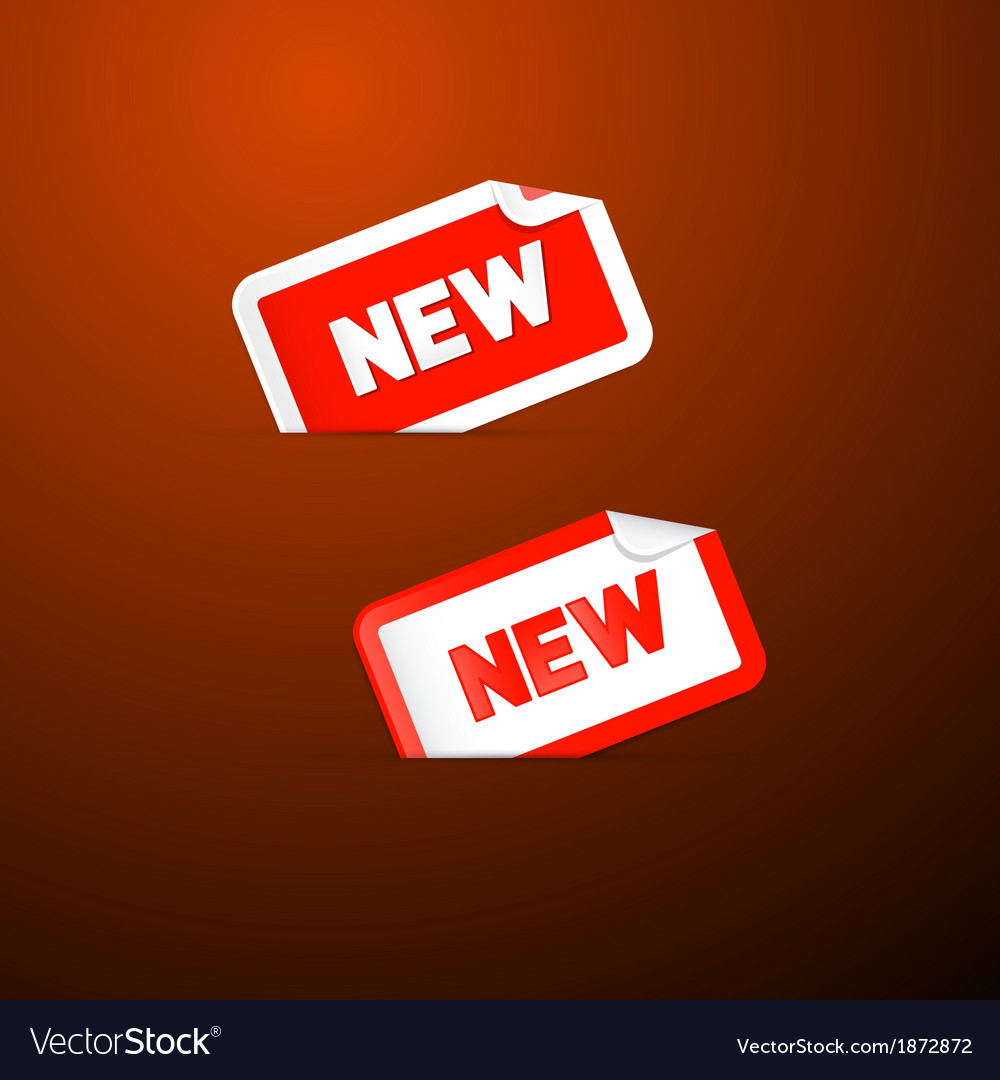 Red stickers with new title on dark red background vector | Price: 1 Credit (USD $1)