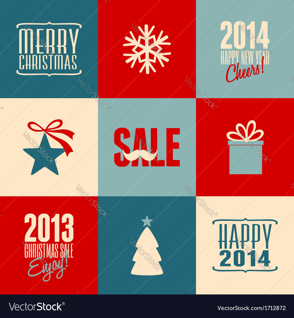 Retro design christmas cards set vector | Price: 1 Credit (USD $1)
