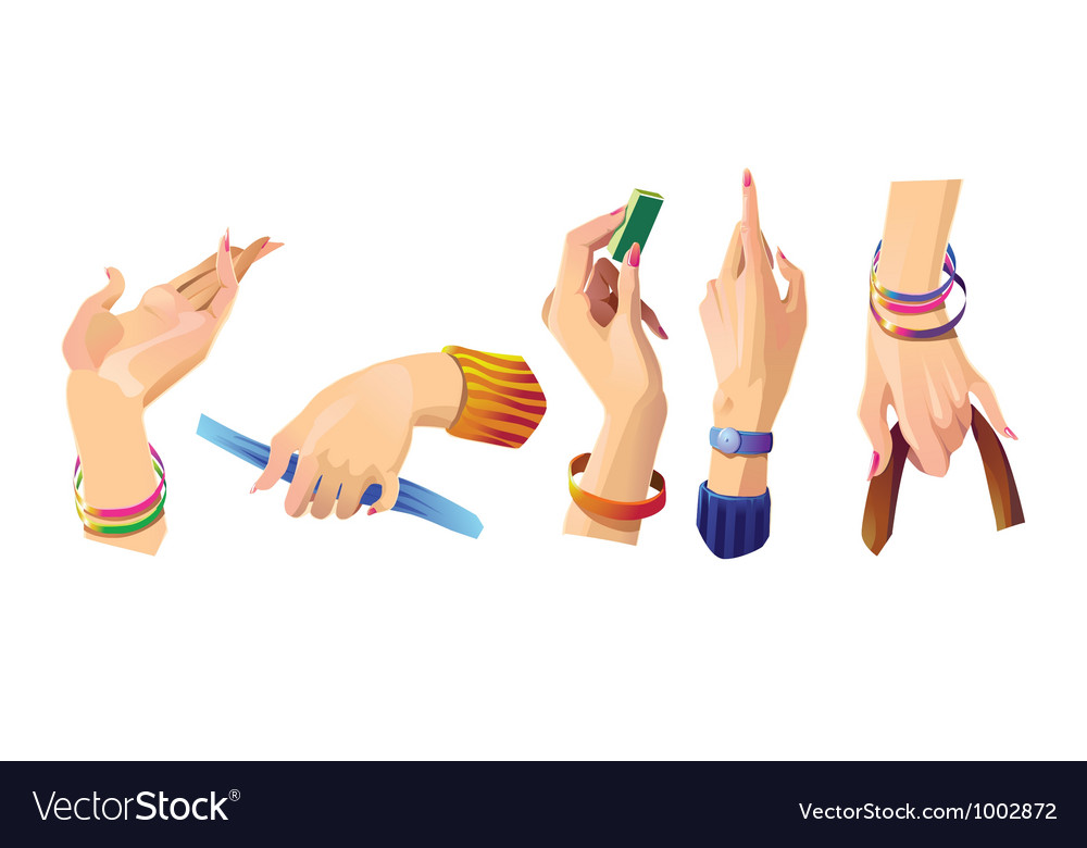 Set of beautiful female hands 1 vector | Price: 3 Credit (USD $3)