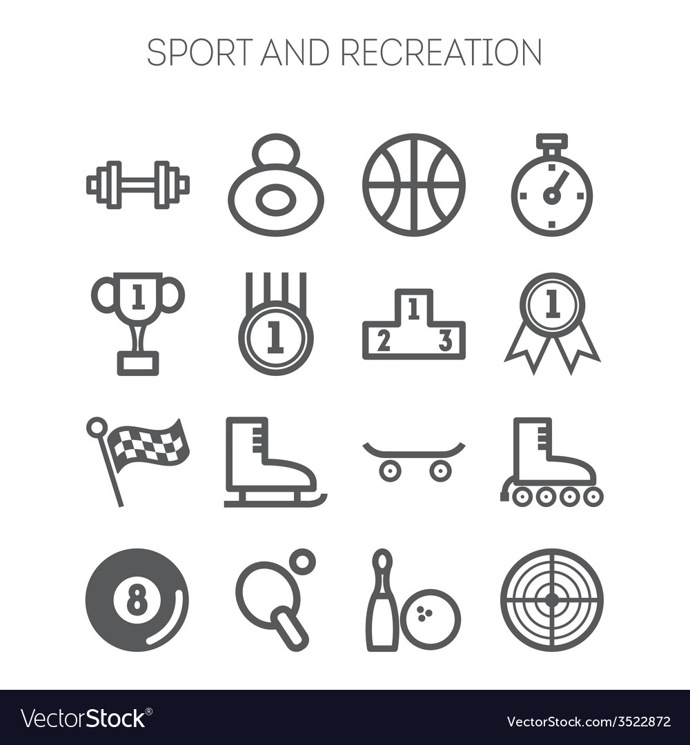 Set of monochromatic simple sports icons vector | Price: 1 Credit (USD $1)