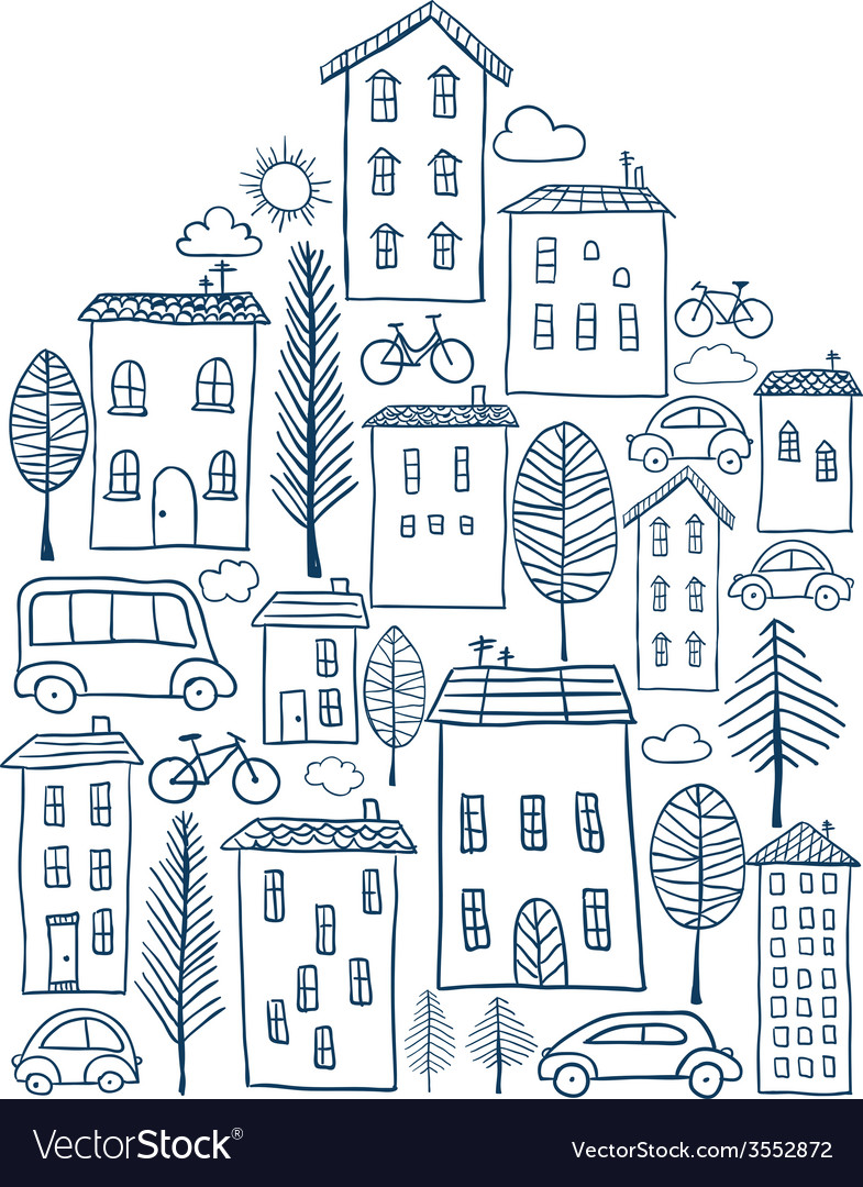 Town doodles in house shape vector | Price: 1 Credit (USD $1)
