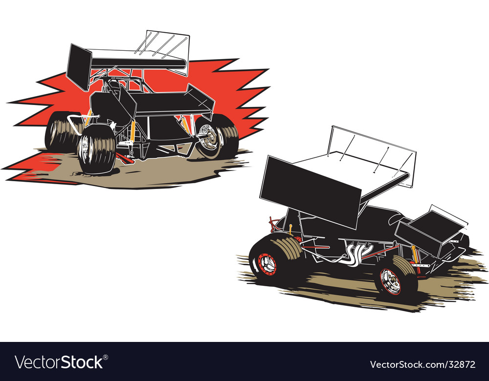 Two sprint cars vector | Price: 1 Credit (USD $1)