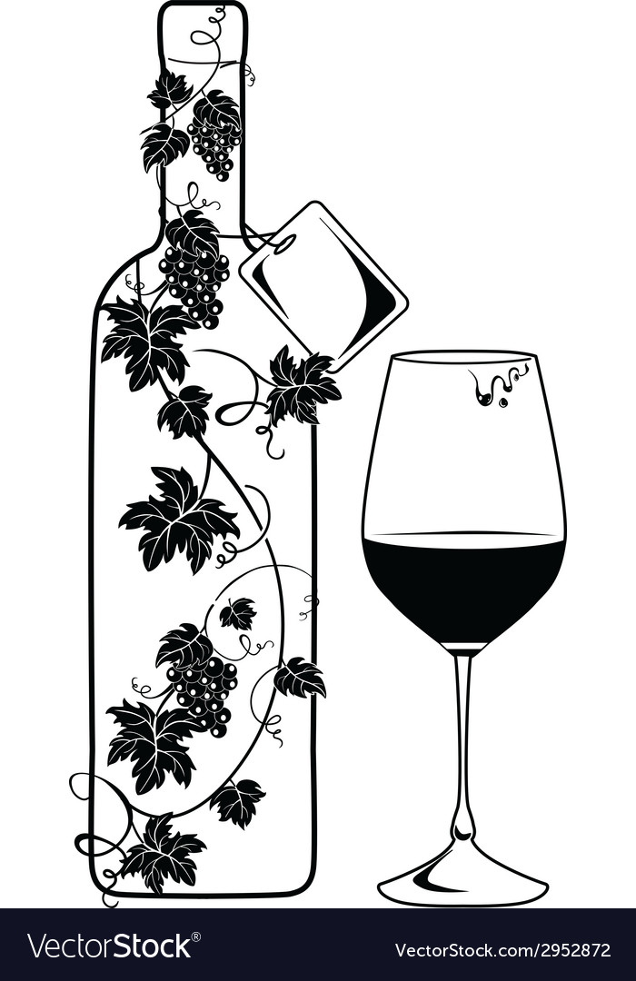 Wine bottle with vine vector | Price: 1 Credit (USD $1)