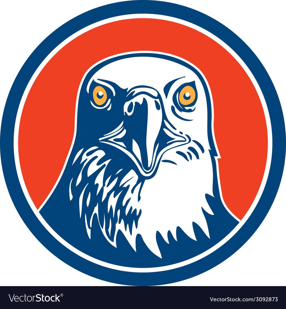 American bald eagle head circle retro vector   Price: 1 Credit (USD $1)