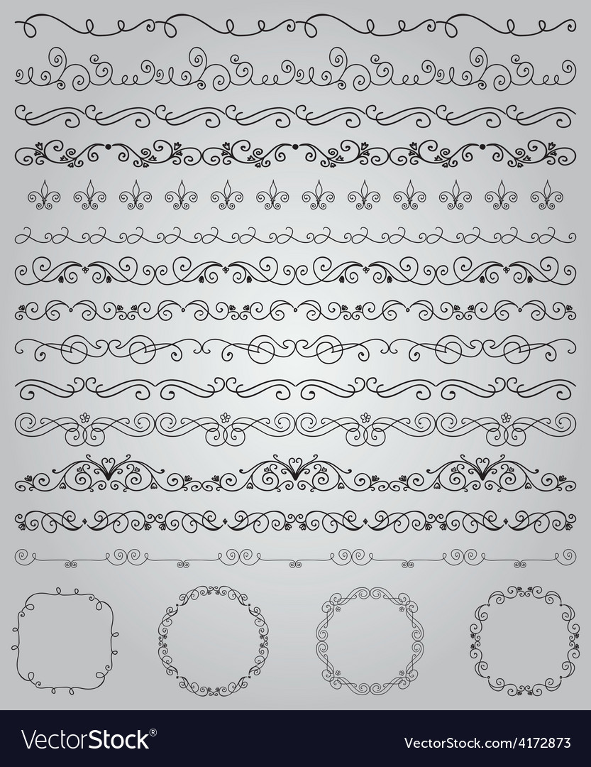 Black hand drawn doodle borders and frames vector | Price: 1 Credit (USD $1)