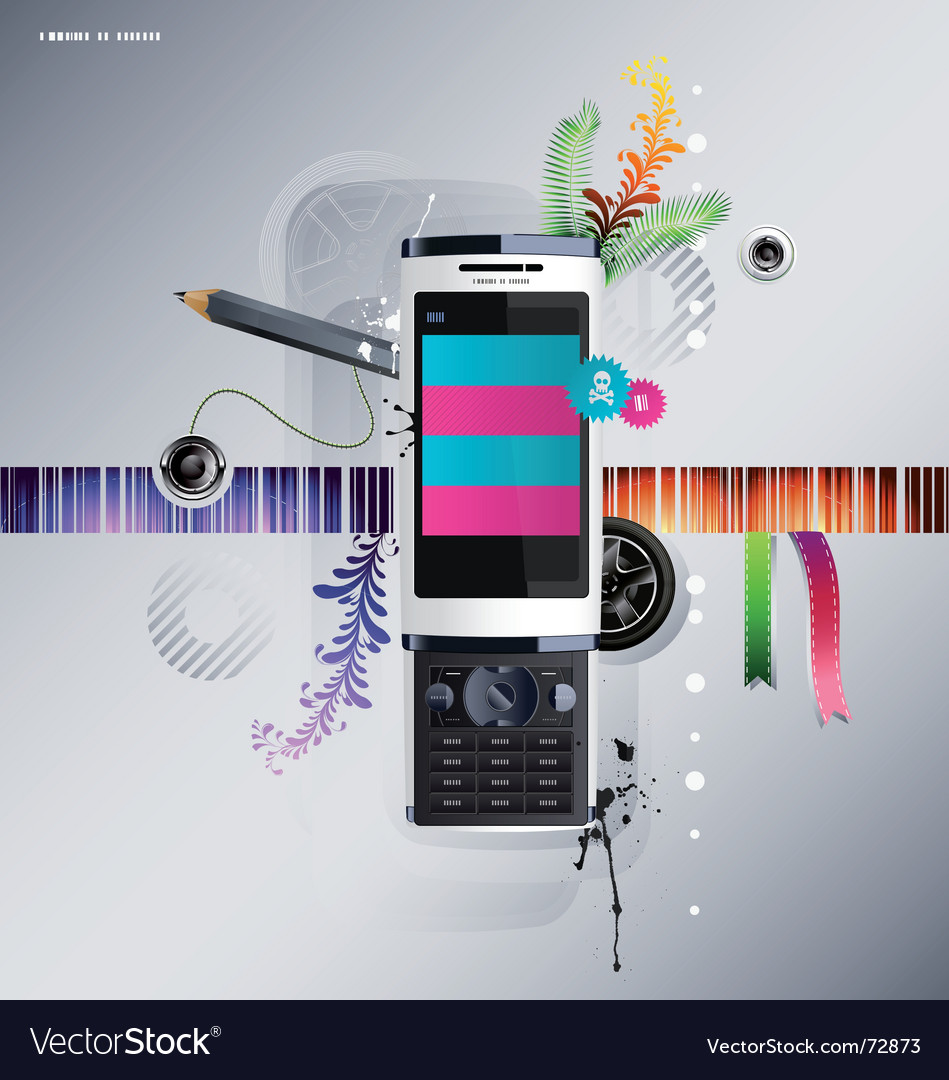 Cellular phone with pattern vector | Price: 3 Credit (USD $3)