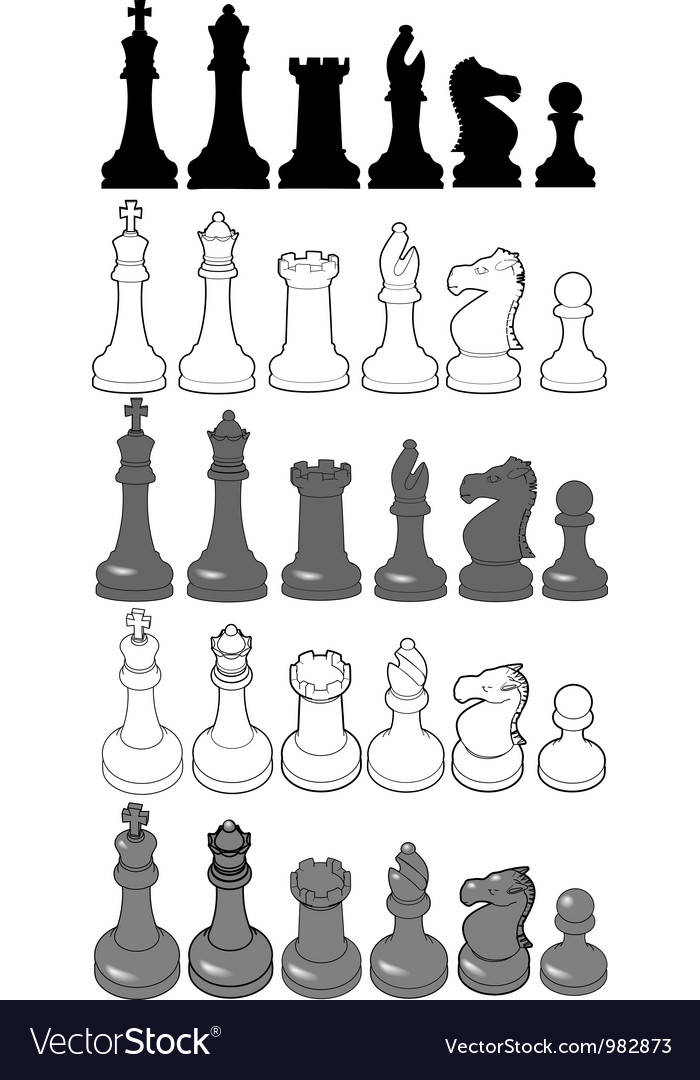 Chess set pieces 3d veiws silhouettes drawing vector | Price: 1 Credit (USD $1)